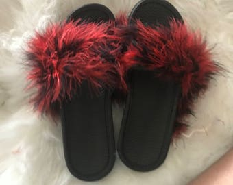 Black and Red Fuzzy Slide