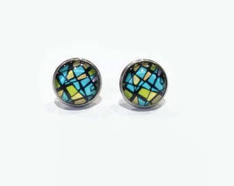 Abstract print studs, abstract earrings, blue yellow pattern earrings, hypoallergenic studs, Blue Yellow 12mm studs, stainless steel studs