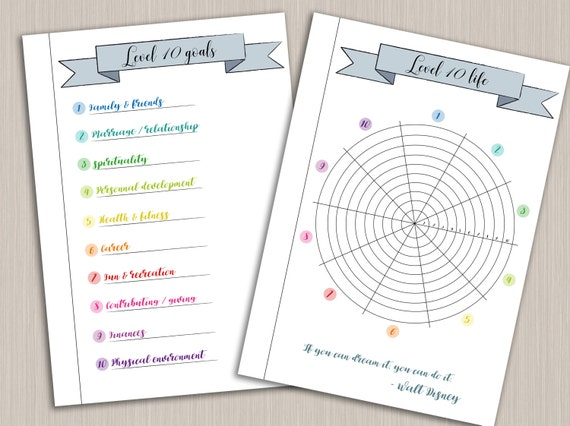 Bullet Journal Printable Level 10 Life Planner Template