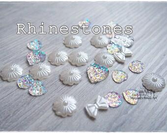 Set of 25 Mixed Rhinestones, flatback cabochon, gems, scrapbooking embellishments, cardmaking, for cards, resins, clear, shine, Frozen