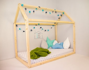 Floor bed, house shaped bed, House bed, Montessori bed, home house frame bed, convertible house bed