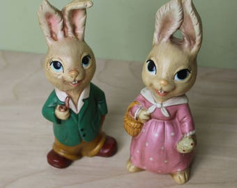 Vintage Married Bunny Couple Figurines