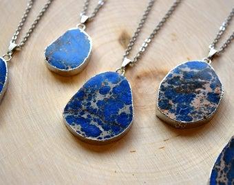 Sea Sediment Jasper // Crystal Healing Necklace // Blue Jasper Necklaces // Jasper Pendants // Gemstone // Boho Jewelry // Bohemian Jewelry