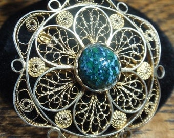 Sterling Filigree Israel Brooch with Eilate Stone