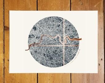 Custom Circular London Coordinates Map - Copper Foil
