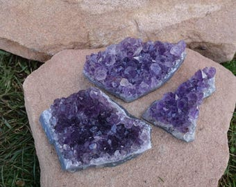 Clearance SALE!!! Set of 3 Amethyst Crystal Cluster from Brazil | Purple Amethyst Crystals | Healing Crystal | Mineral Specimen #14