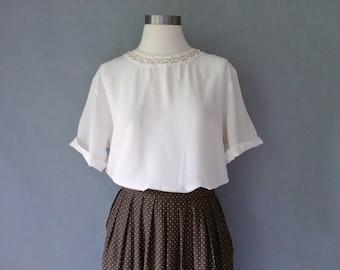 Vintage 100% fine silk short sleeve blouse/ tunic/shirt/top size S/M