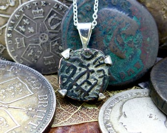 FREE WORLDWIDE DELIVERY, Ancient Coin Pendant, Sterling Silver, Raja Raja Chola Empire, India, Trading Token, Necklace, Collectible (7786)