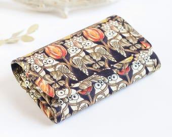 Owl wallet  small wallet vegan wallet fabric wallet womens wallet patterned wallet wallet for women mini wallet coin purse owls tulips