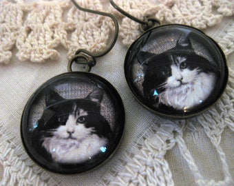 Long Haired Black And White Cat Earrings