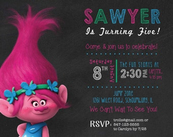 Trolls Birthday Invitation, 3rd Birthday Invitation, Trolls Party