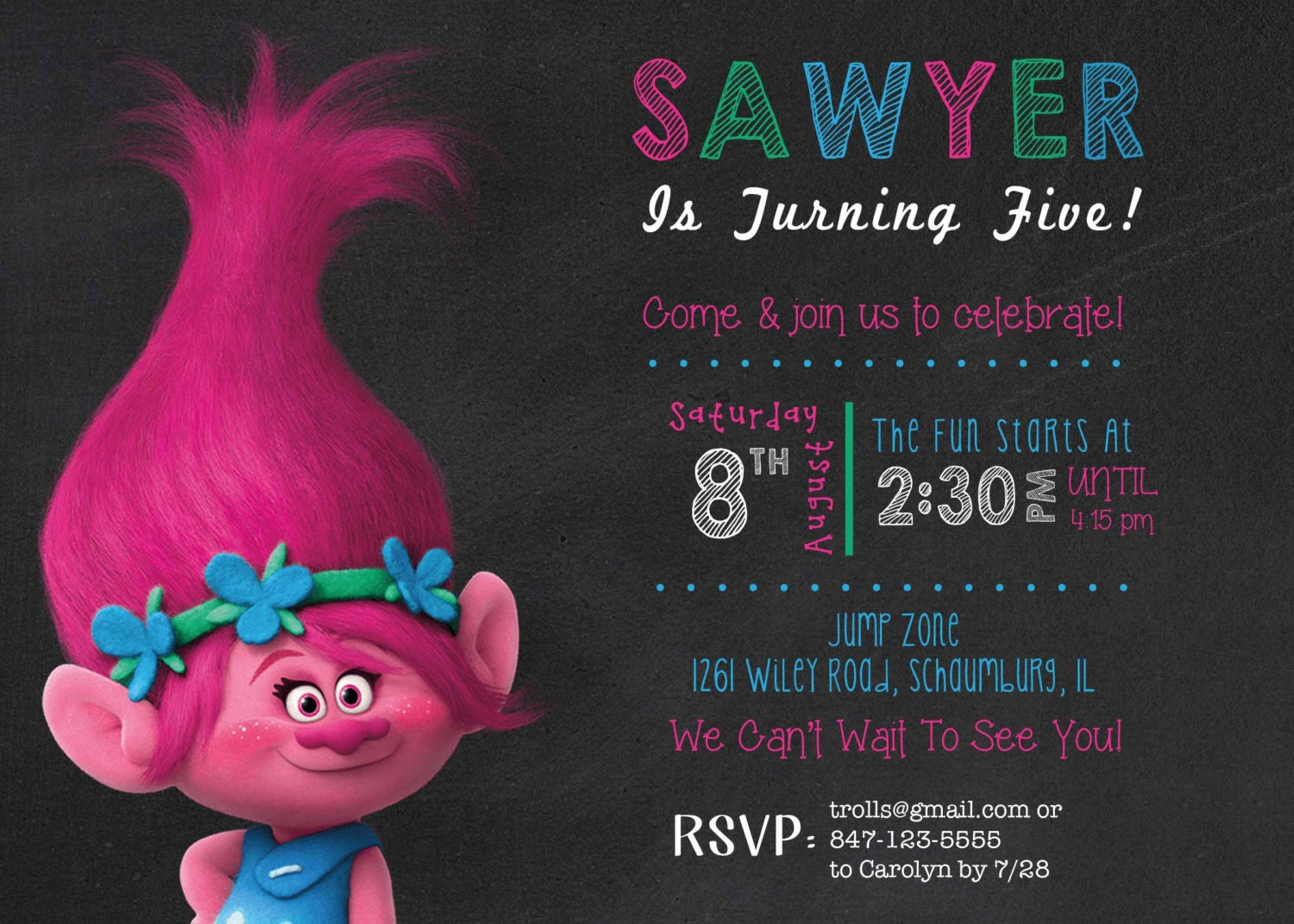 It is a graphic of Gratifying Printable Trolls Birthday Invitations
