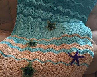 Sea Turtle Blanket, Crochet Sea Turtle Blanket
