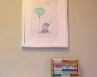 A4 baby elephant nursery print holding balloon *unframed*