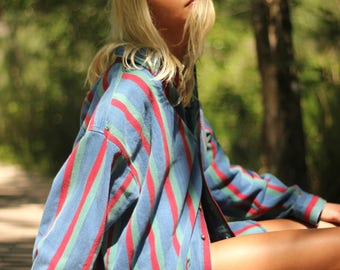 Blue, Red and Green Denim Button Down