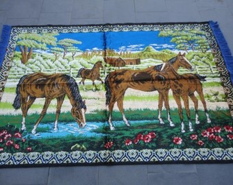 Vintage Turkish wall rug,illustrated horse family,71 x 47 inches