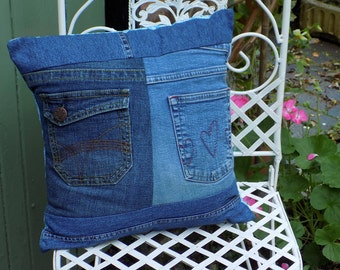 An Upcycled Denim Jeans Cushion Cover in Patchwork Style
