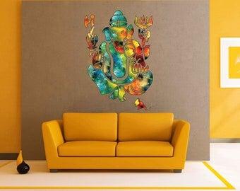 cik1842 Full Color Wall decal Watercolor Hinduism Ganesha Elephant Living Room Bedroom Meditation Room