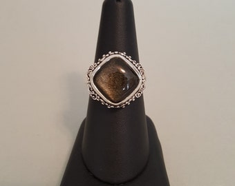 Golden Mexican Obsidian Filigree Sterling Silver Finger Ring - Size 8-1/2