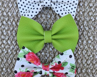 Green Leather Hair Bow, Green Hair Bow, Polka Dot Hair Bow, Floral Hair Bow, Leather Hair Bow, Black & White Hair Bow, Pigtail Bows, Clips