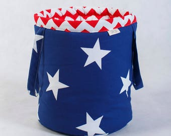 Basket for toys, navy, stars, red chevron, cotton