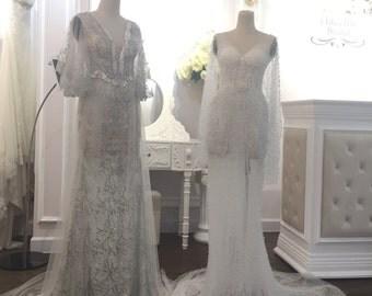 Beading tulle wedding dress