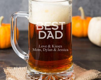 Best Dad Personalized 15 oz Beer Mug Glass - Father's Day Gift - Birthday Gift - DGI23-A14