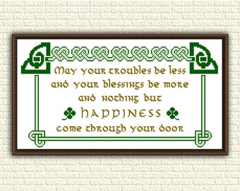 Irish blessing - Cross Stitch Pattern pdf - May your troubles be less and your blessings be more - celtic knot - counted chart - KbK-086