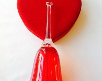 Red glass bell handmade
