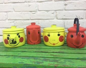 Vintage anthropomorphic Tanda Toys plastic Kitchenware Pots, pans, tea pot