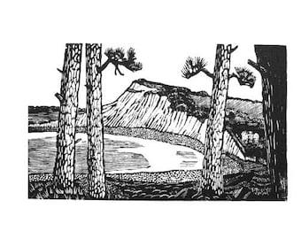 Print of coast scene, Budleigh Salterton wood engraving, black and white print, landscape print, river Otter print