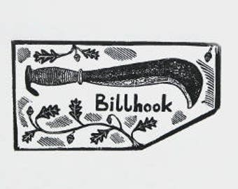 Engraving of a Billhook. Black and white print, print of hand tool, Small print, limited edition print