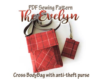 The Evelyn crossbody bag pattern with anti theft purse . iPad bag. PDF messenger Bag sewing pattern. Purse Patterns and tutorials