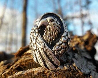 Vintage Sterling Silver Plated G&S Eagle Biker Ring - Size 10