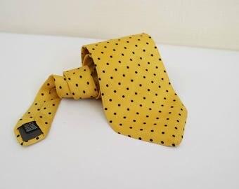 Vintage Yellow Silk Tie, Silk Dotty Necktie, Classic Tie