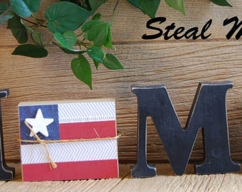"American Flag: DIY Unfinished Wood Fourth of July Letter Decoration ""O"" Insert ONLY - Craft for ""H M E"", ""L V E"" or ""WELCME"" Letter Set"