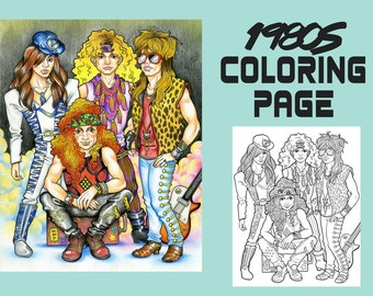 Coloring Page - 1980s Coloring Book - Printable Coloring Page- 80s Hairband