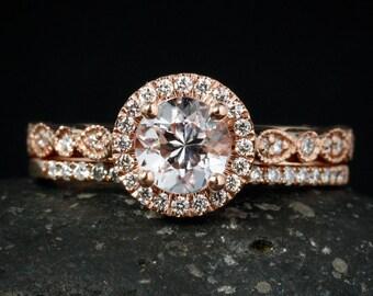 Pink Morganite Engagement Ring - Half-Eternity Diamond Wedding Band - Morganite Bridal Set