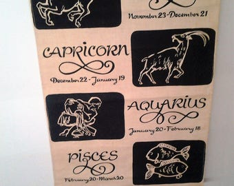 Vintage 60s Horoscope Hessian Wall Hanging