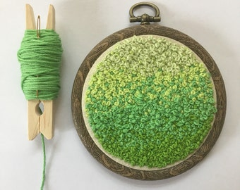 Hand Embroidery French Knot Art, Embroidered Hoop Fibre Art, Green Forest Inspired Ombre Home Decor, Wall Hanging - KnotUp Collection