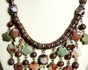 Jasper Natural Gemstone Necklace, Handmade Statement Necklace, Gemstone Beaded Necklace, Gemstone Jewelry, One of a Kind Necklace