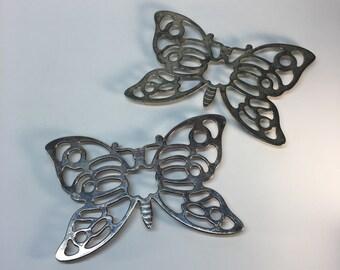 Leonard Italian silver-plate butterfly trivets