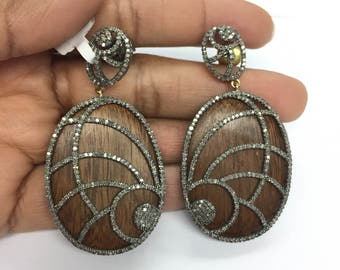 Beautiful Wooden diamond  earrings