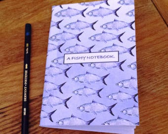 A6 Pocket Notebook. A Fish Notebook / Ocean Stationary Journal. Plain Paper Jotter. Used as a Personal Journal, a Sketchpad, or Note Taking.