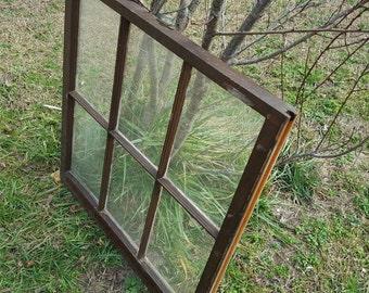 32 x 31 Six 6 pane vintage wood farm house antique window sash wedding reclaimed cottage frame dark stained