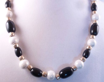 Black, White and Gold tone Necklace
