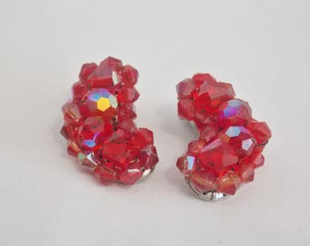 Red Bead Ear Climbing Clip on earrings, Red Bead Earrings, AB Bead Earrings, Beaded Jewelry, Red Earrings, Red Bead Clip ons