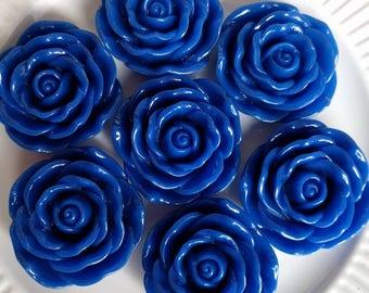 Royal blue rose flower pendant (2ct) for necklaces bracelets bubblegum necklace girl's jewelry chunky necklace gumball necklace flower beads