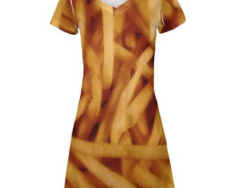 Fast Food Golden French Fries Costume All Over Juniors V-Neck Cover-Up Dress