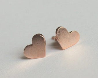 Tiny Heart Stud Earrings, Rose Gold Heart Earrings, Minimalist Earrings, Heart Earrings, Dainty Earrings, Tiny Heart Earrings
